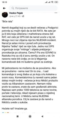Ухапшен црногорски политичар Веско Пејак јер је на Фејсбуку написао да ДПС жели рат